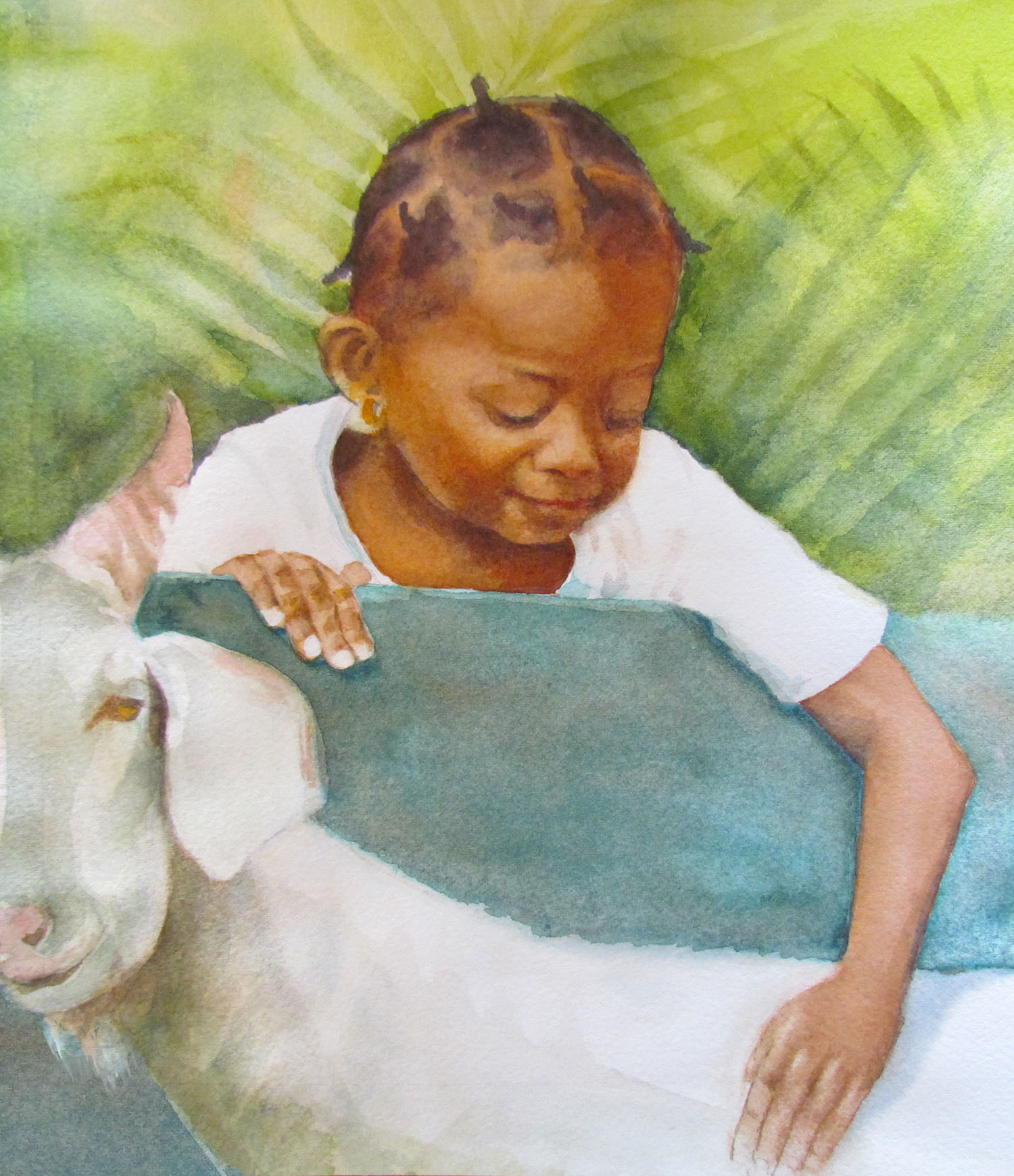 young Caribbean girl and goat