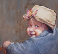 watercolor of child wearing hat