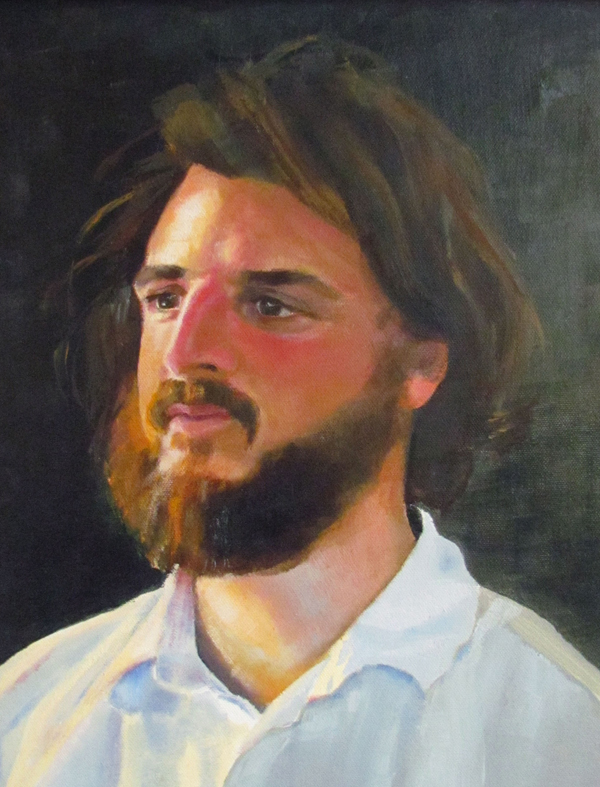 oil on canvas of a man, Carl