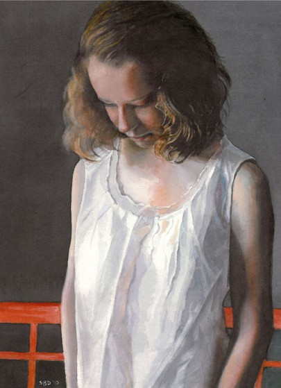 sarah buell dowling of young woman in a white blouse