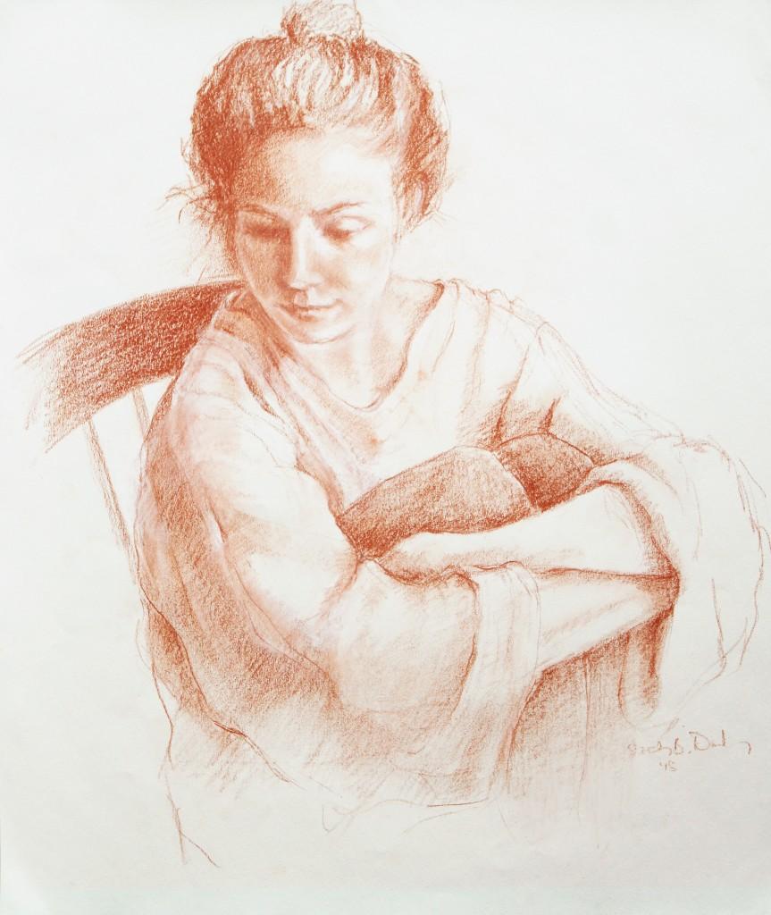 pencil drawing of Katrina