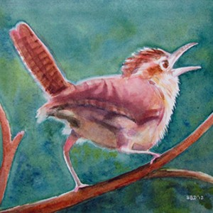 watercolor of a wren