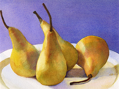 Beautiful watercolor prints of four pears