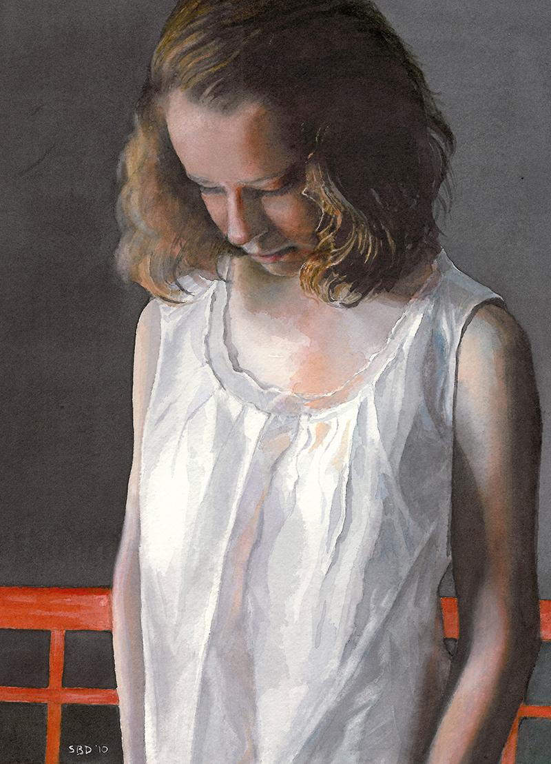 Watercolor of Pensive