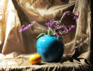 Still life set against cloth background