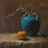 still life of vase and orange done in oils