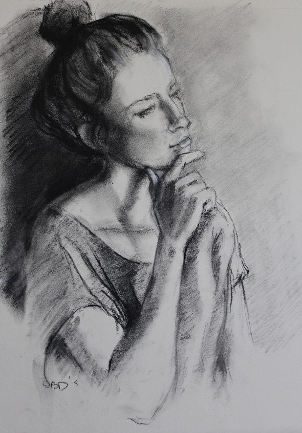 charcoal pencil portrait of young woman