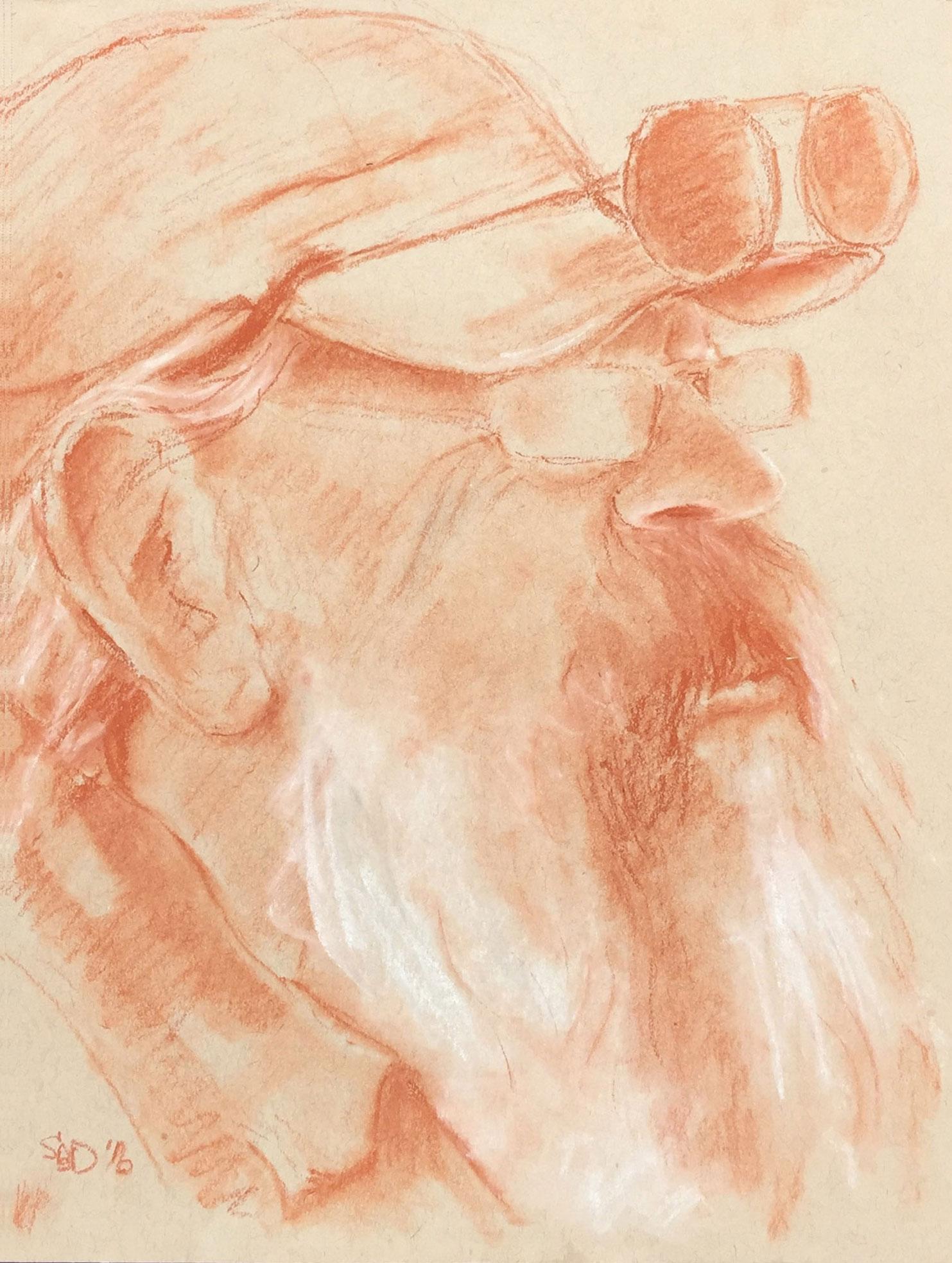 sepia drawing of Rick